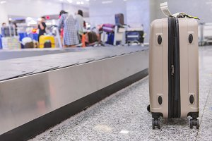 Suitcase or luggage in airport.