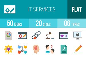 50 IT Services Flat Multicolor Icons
