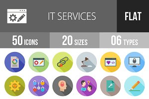 50 IT Services Flat Shadowed Icons