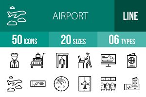 50 Airport Line Icons