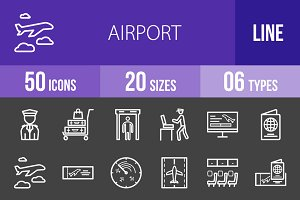 50 Airport Line Inverted Icons