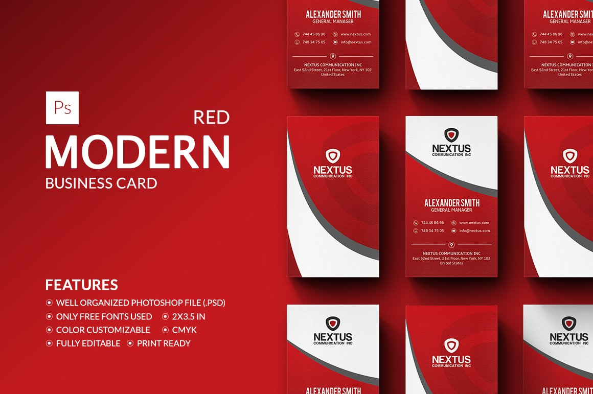Modern red business card business card templates creative market colourmoves Images