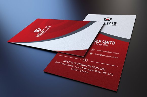 Modern red business card business card templates creative market accmission Gallery