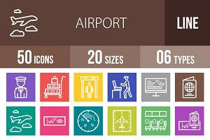 50 Airport Line Multicolor Icons