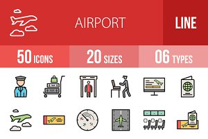 50 Airport Filled Line Icons