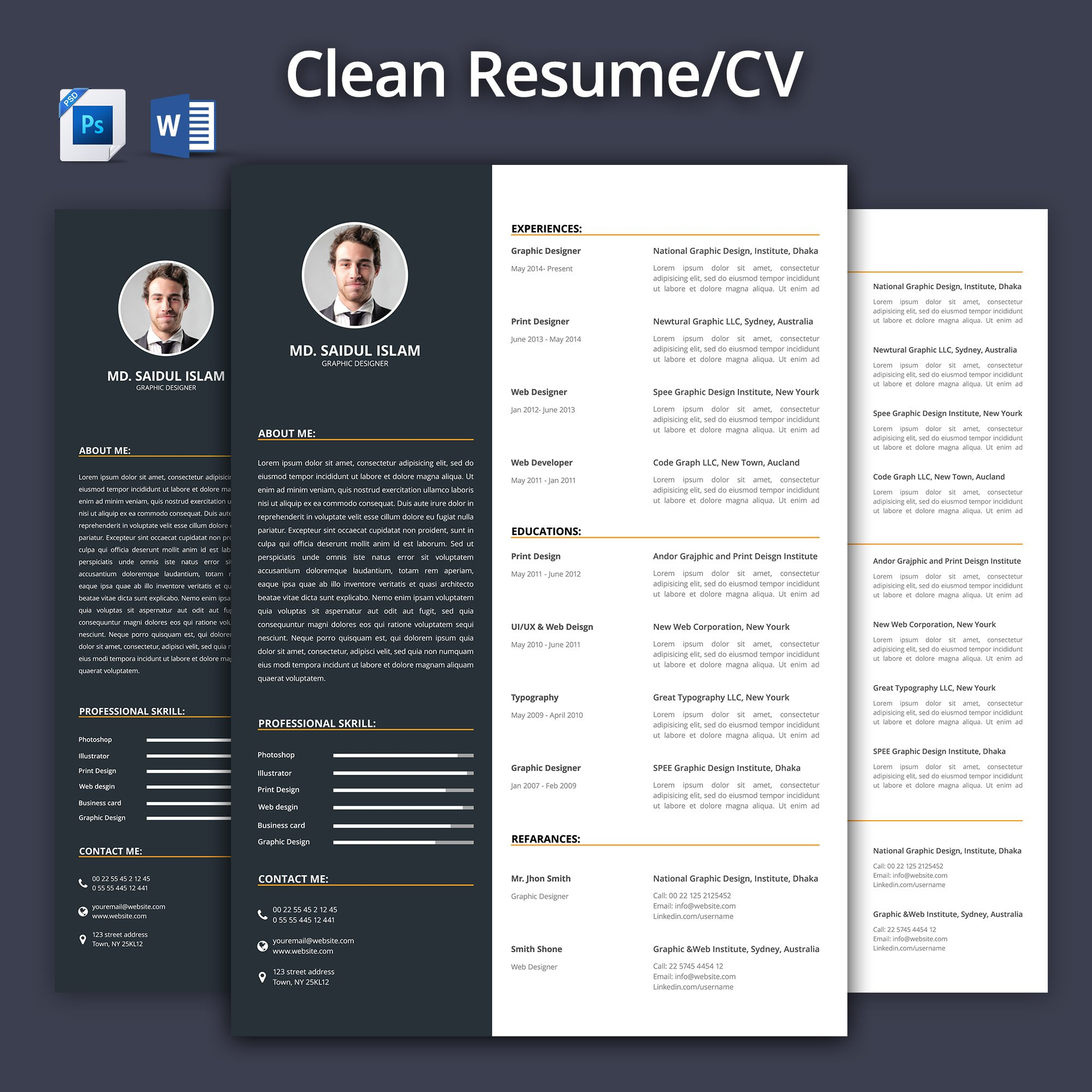 clean resume - cv 2017 ~ resume templates ~ creative market