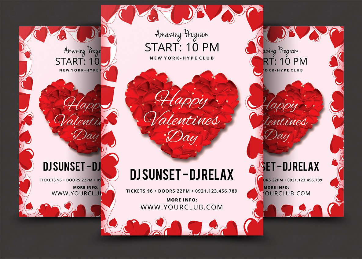 valentines day psd flyer template flyer templates creative market
