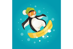 Penguin on snowboard