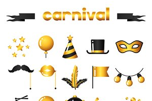 Carnival icons and badges.