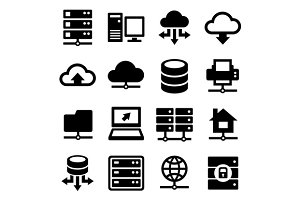 Big Data Center and Server Icons