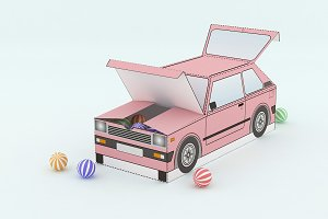 DIY Car Party Favor - 3d papercrafts