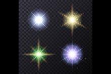 Light Color Glow Flare Stars Set