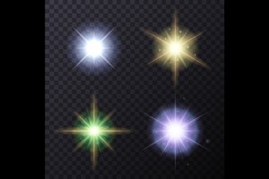 Light Color Glow Flare Stars Set