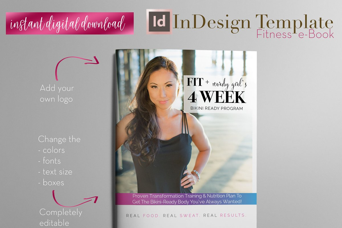 Fitness E Book Indesign Template Magazine Templates