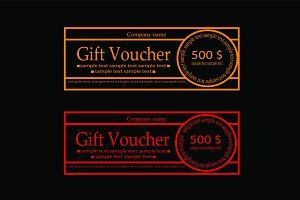 Gift Voucher neon color outline
