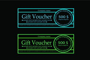 Gift Voucher neon blue vector
