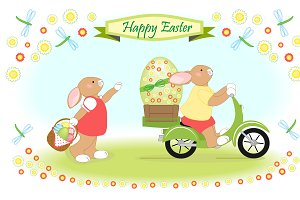 Cute childish Easter card