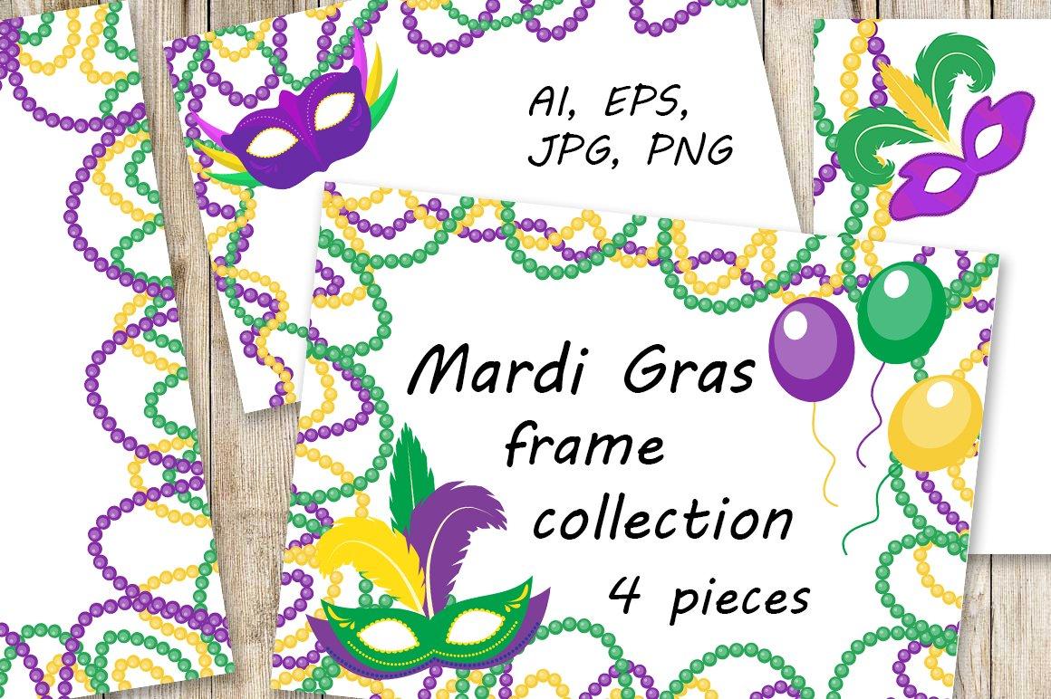 Mardi Gras frame set ~ Graphics ~ Creative Market