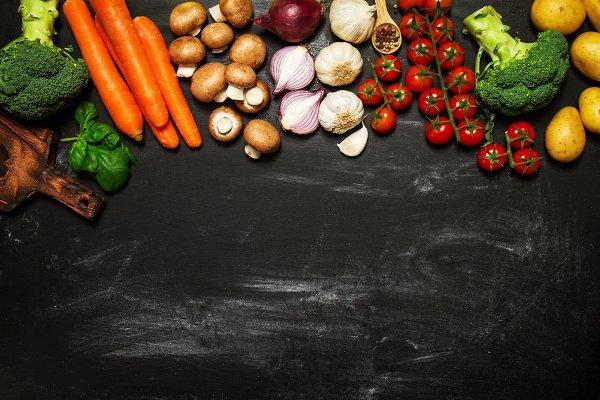 Healthy food concept, top view