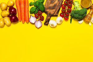 Healthy food concept, top view