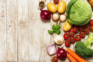 Healthy food concept, ingredients