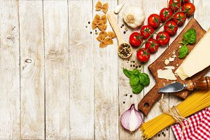 Italian food concept, ingredients