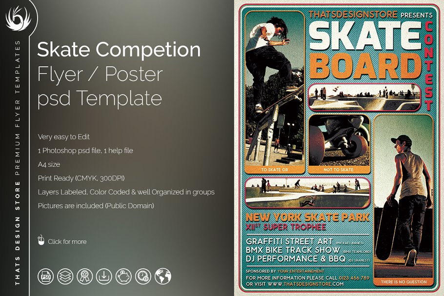 Skating Competition Flyer Template Flyer Templates Creative Market