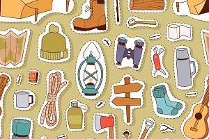 Camping cartoon hand drawn pattern