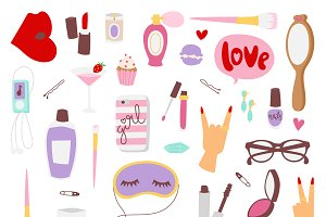 Vector girl fashion accessories