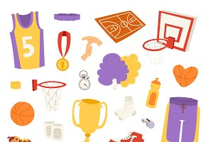 Basketball sport icons vector