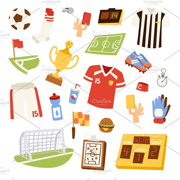 Football Sport Soccer Icons Vector