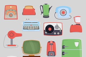 Retro vintage household appliances