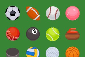 Collection of sport balls vector