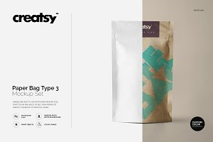 Paper Bag Type 3 Mockup Set