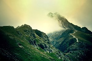 Fog in mountains.