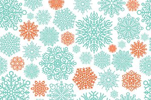 Snowflake vector seamless pattern