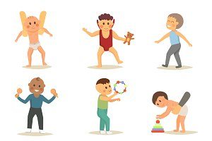Children first walking vector set