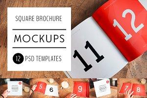 12 PSD Square Brochure Mockups