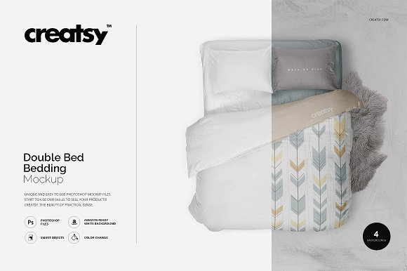 Download Double Bed Bedding Mockup