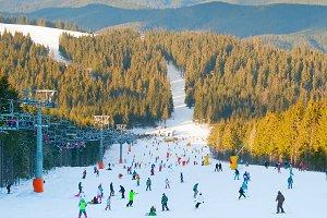 Crowded ski resort