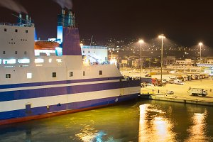 Ferry port at night