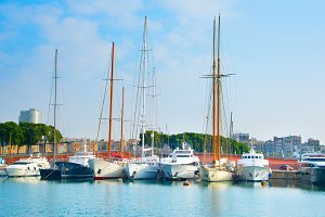 Yachts in Barcelona marina, Spain