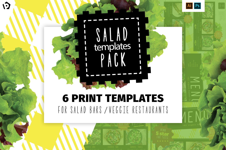 Salad Restaurant Menu Template Pack Brochure Templates