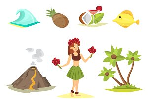 Hawaii symbols and icons vector
