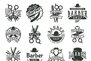 Vintage vector barber design logo