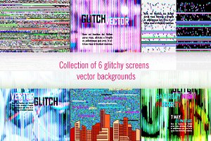Digital glitch backgrounds set