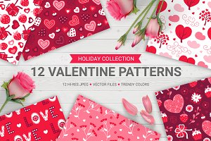 12 Valentine Seamless Patterns