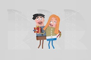 3d illustration. Happy couple gift