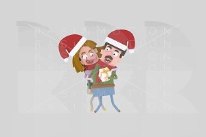3d illustration. Couple Xmas Gift