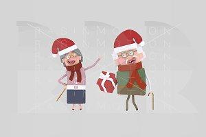 3d illustration. Grandparents gift